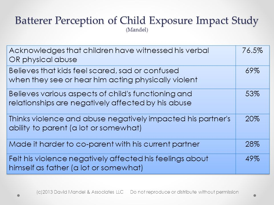 Batterer Perception of Child Exposure Impact Study (Mandel) (c)2013 David Mandel & Associates LLC Do not reproduce or distribute without permission