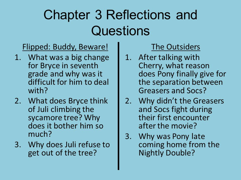 Chapter 3 Reflections and Questions Flipped: Buddy, Beware! 1.What was a big change for Bryce in seventh grade and why was it difficult for him to dea