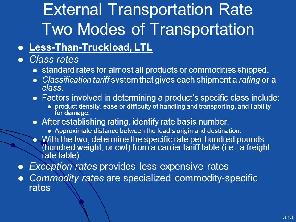 3-13 Less-Than-Truckload, LTL Class rates standard rates for almost all products or commodities shipped.