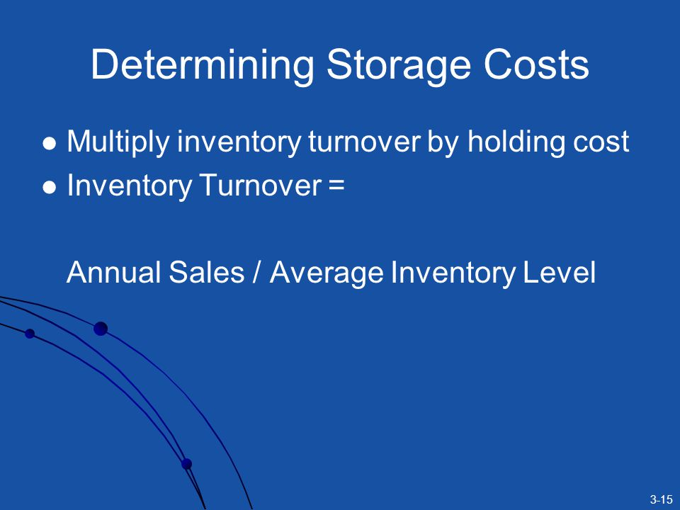 3-15 Determining Storage Costs Multiply inventory turnover by holding cost Inventory Turnover = Annual Sales / Average Inventory Level