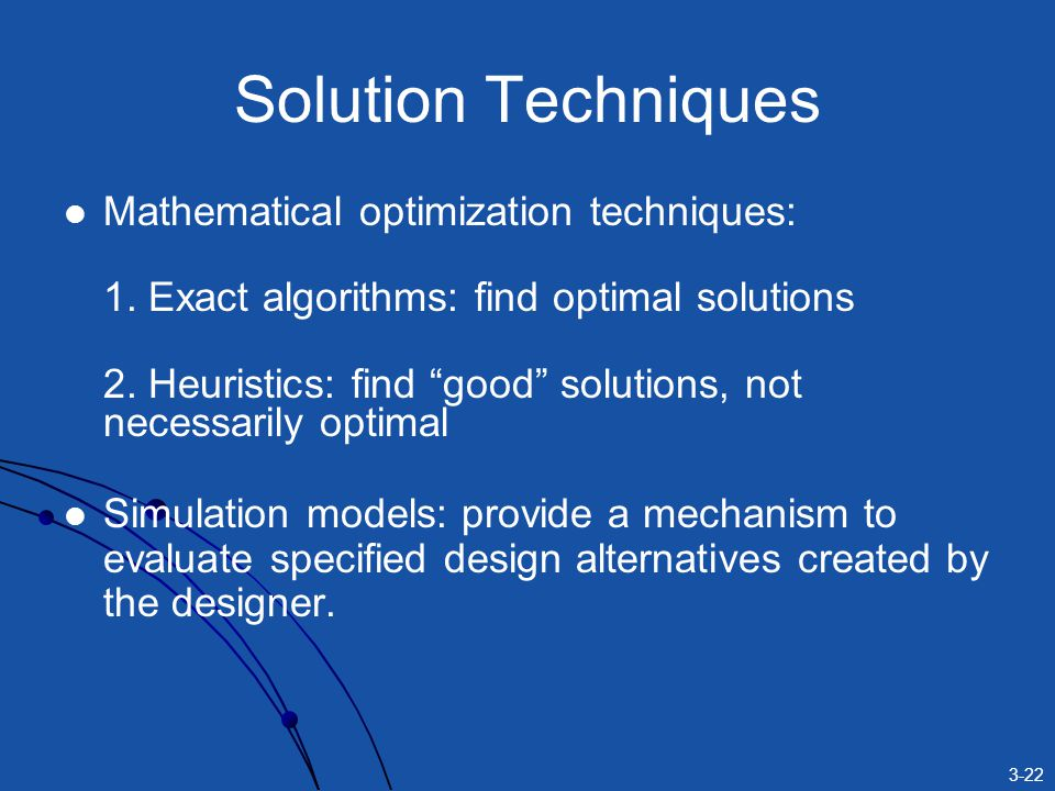 3-22 Solution Techniques Mathematical optimization techniques: 1.