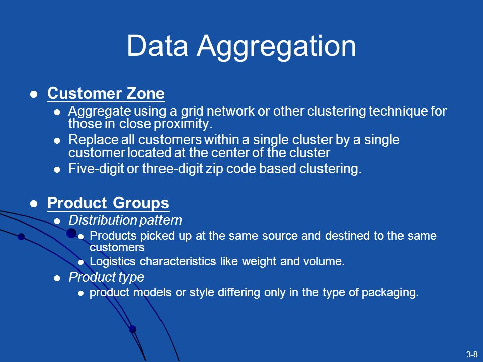 3-8 Data Aggregation Customer Zone Aggregate using a grid network or other clustering technique for those in close proximity.