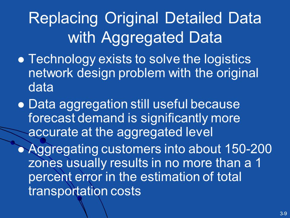 3-9 Replacing Original Detailed Data with Aggregated Data Technology exists to solve the logistics network design problem with the original data Data aggregation still useful because forecast demand is significantly more accurate at the aggregated level Aggregating customers into about 150-200 zones usually results in no more than a 1 percent error in the estimation of total transportation costs