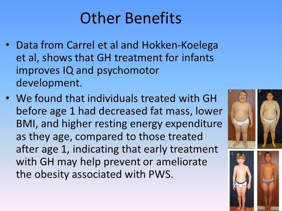 Other Benefits Data from Carrel et al and Hokken-Koelega et al, shows that GH treatment for infants improves IQ and psychomotor development.