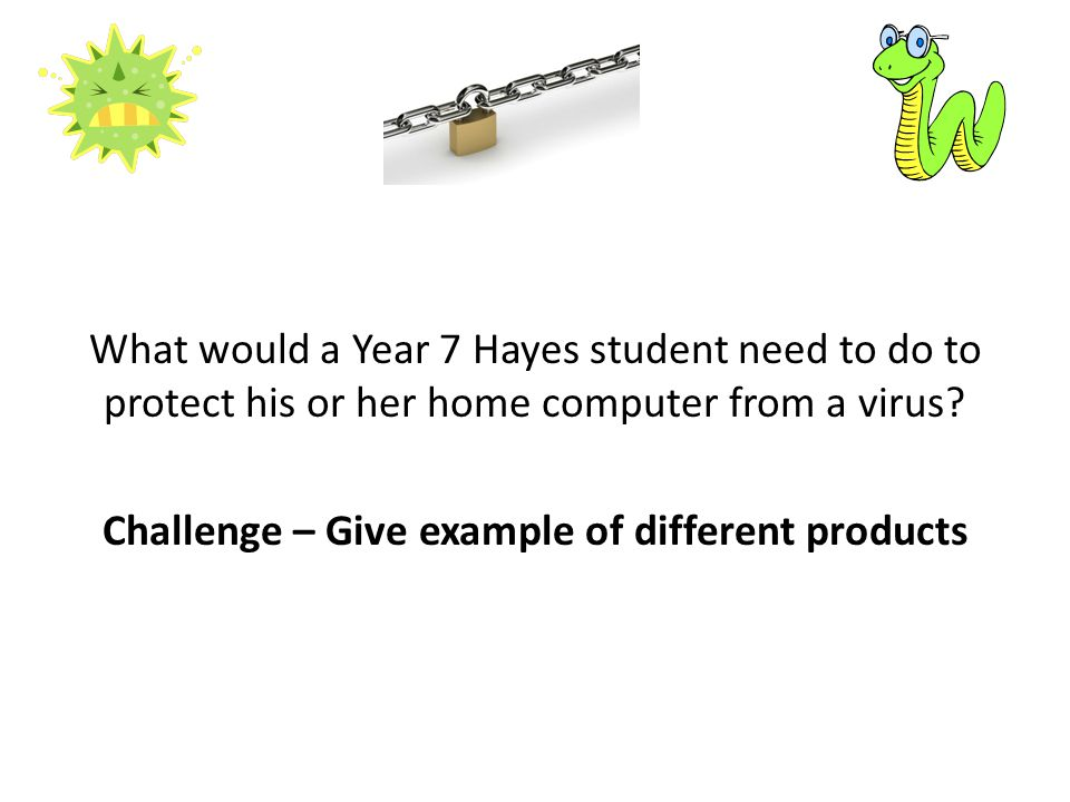 What would a Year 7 Hayes student need to do to protect his or her home computer from a virus.