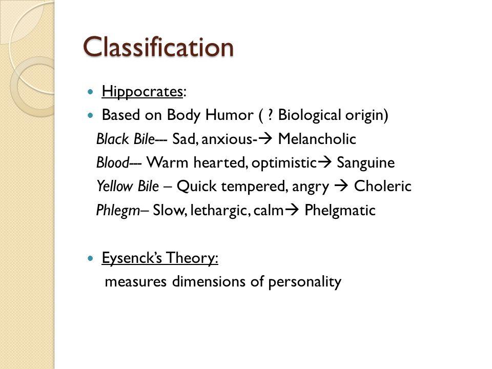 Eysenck's Dimensional Classification