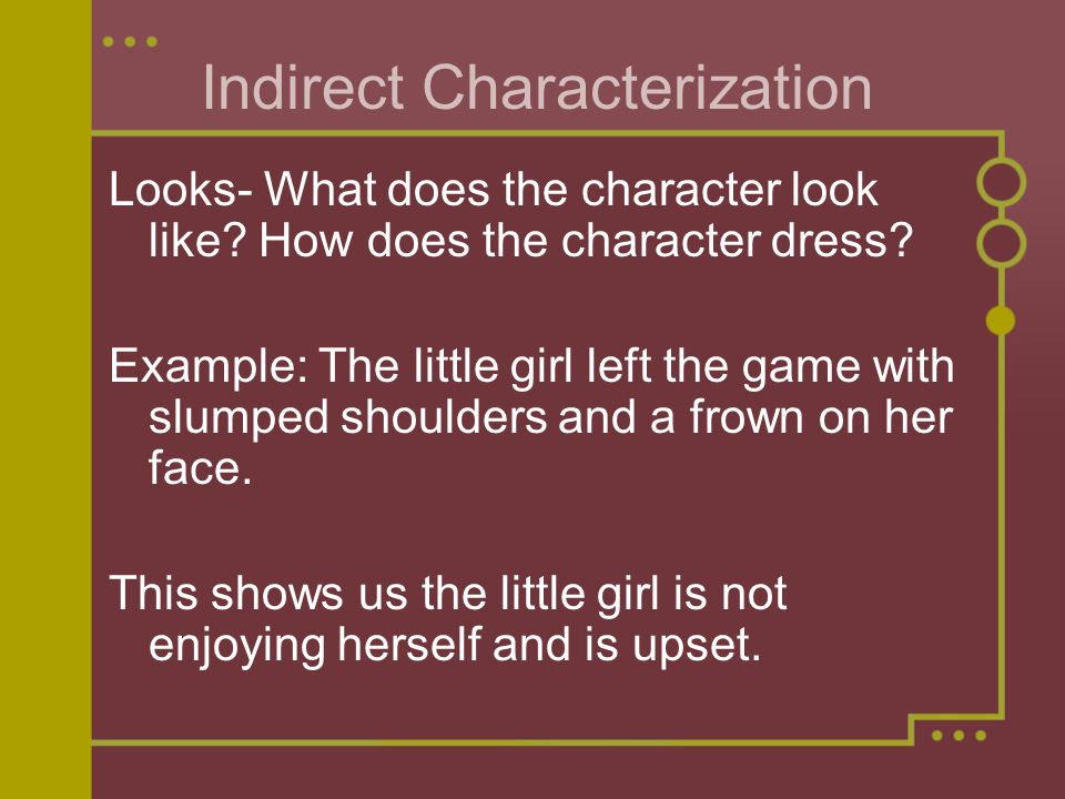 Indirect Characterization Looks- What does the character look like.