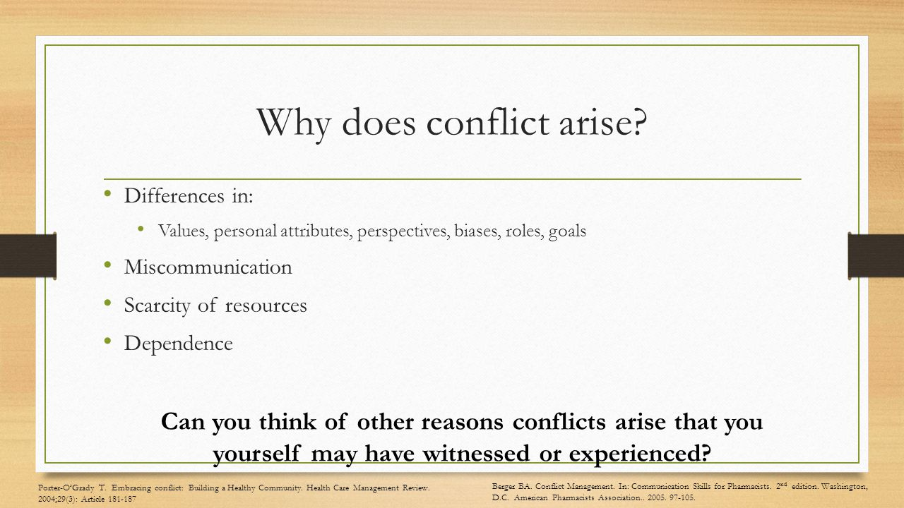 Why does conflict arise.