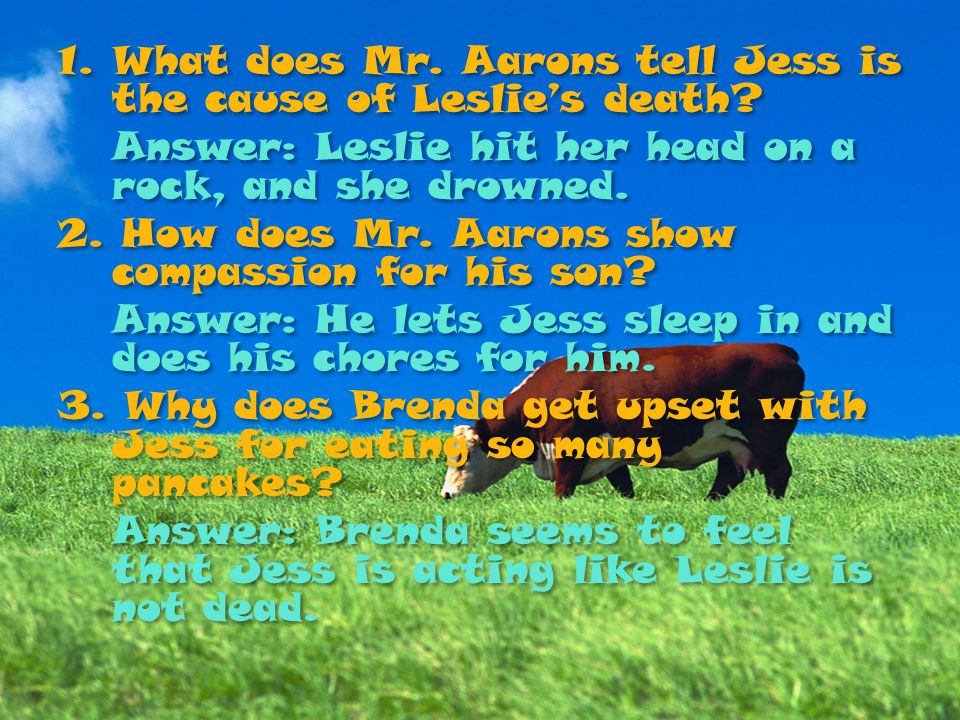 1.What does Mr. Aarons tell Jess is the cause of Leslie's death? Answer: Leslie hit her head on a rock, and she drowned. 2. How does Mr. Aarons show c