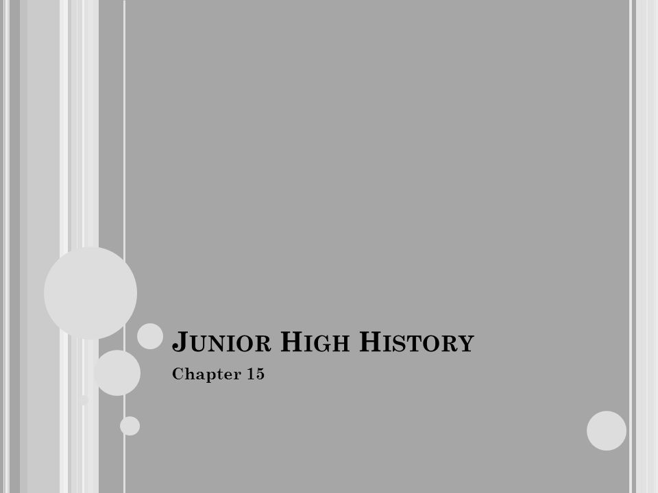 J UNIOR H IGH H ISTORY Chapter 15