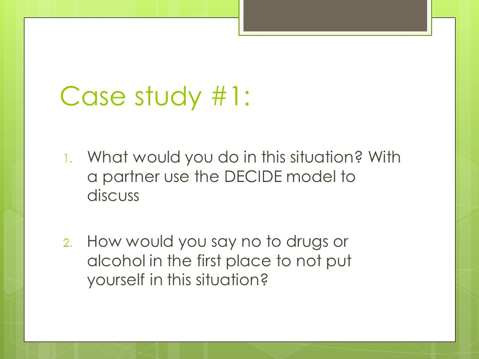 Case Study #2……  Elizabeth's Story  With a partner discuss strategies Elizabeth could have used to chance the course of her life.