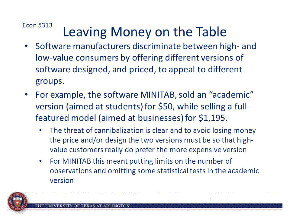 Leaving Money on the Table Software manufacturers discriminate between high- and low-value consumers by offering different versions of software design