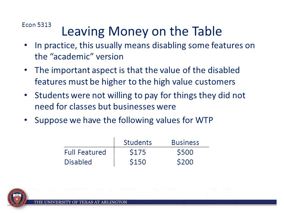 "Leaving Money on the Table In practice, this usually means disabling some features on the ""academic"" version The important aspect is that the value of"