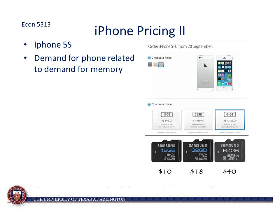 iPhone Pricing II Iphone 5S Demand for phone related to demand for memory Econ 5313
