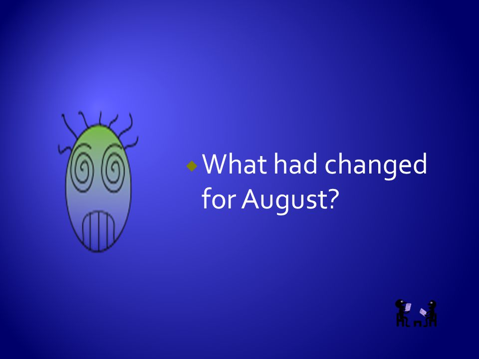  What had changed for August?