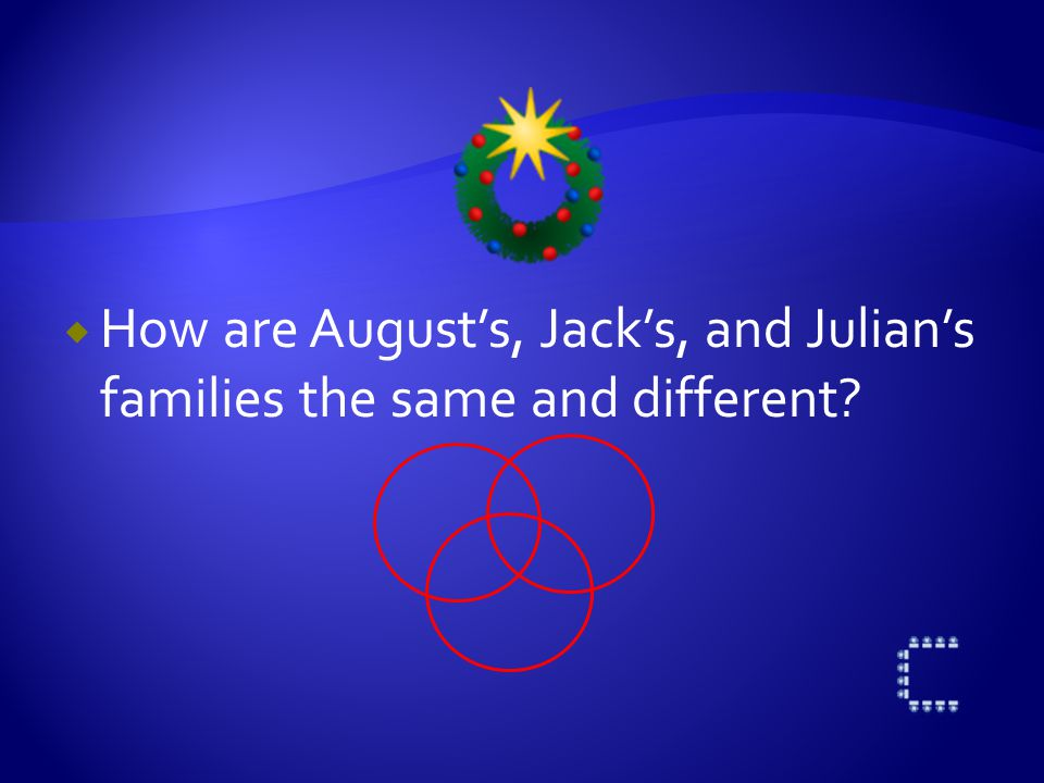  How are August's, Jack's, and Julian's families the same and different?