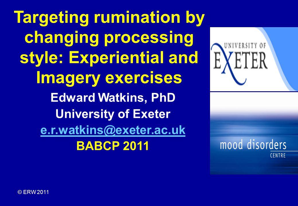 Watkins & Teasdale (2001 J.AbPsych, 2004, JAD) modified rumination paradigm (Nolen-Hoeksema & Morrow, 1993; Lyubomirsky & Nolen-Hoeksema, 1995).