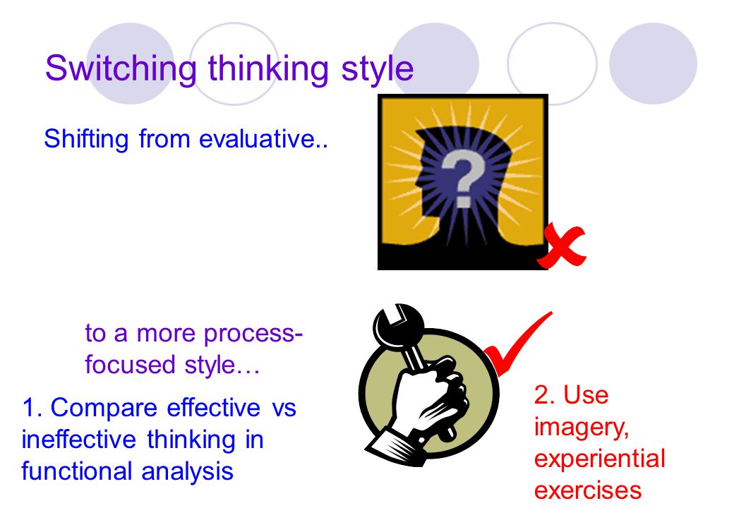 Switching thinking style Shifting from evaluative.. to a more process- focused style… 1. Compare effective vs ineffective thinking in functional analy