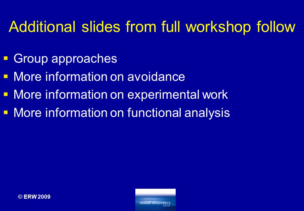 Additional slides from full workshop follow  Group approaches  More information on avoidance  More information on experimental work  More informat