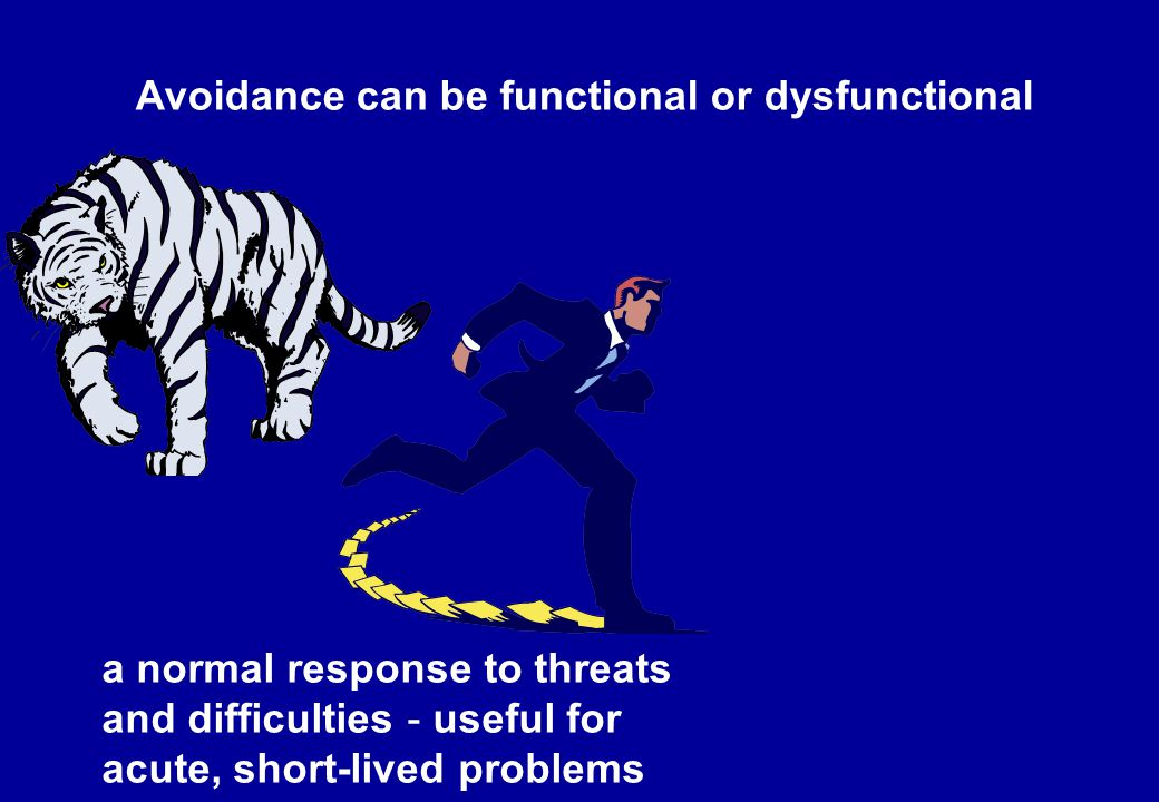 Avoidance can be functional or dysfunctional a normal response to threats and difficulties - useful for acute, short-lived problems