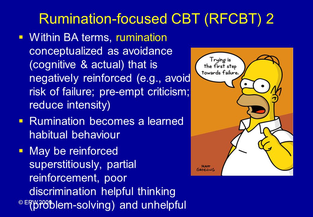 Key principles of contextual-functional approach (BA & RFCBT)  Viewing depression as  - a set of actions in context  - as understandable and predictable given a person s life history and current context –e.g.