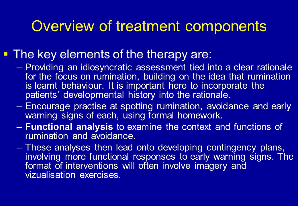 Overview of treatment components  The key elements of the therapy are: –Providing an idiosyncratic assessment tied into a clear rationale for the foc