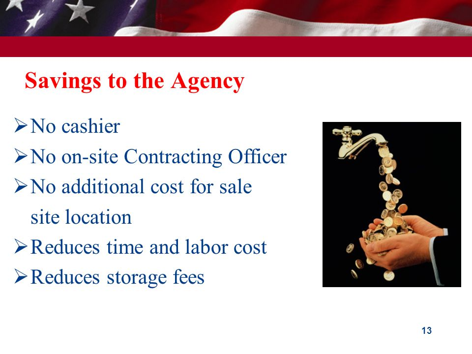 What your agency's fee to GSA pays for: Off-line Sales:  Advertising of sale event  Maintenance of specialized mailing lists  Printing and distribution of Invitation For Bids  Bid opening  Registration of bidders  Auctioneer  On-site Sales Contracting Officer  On-site collection of payments  Follow up collection of defaults/late payments 12