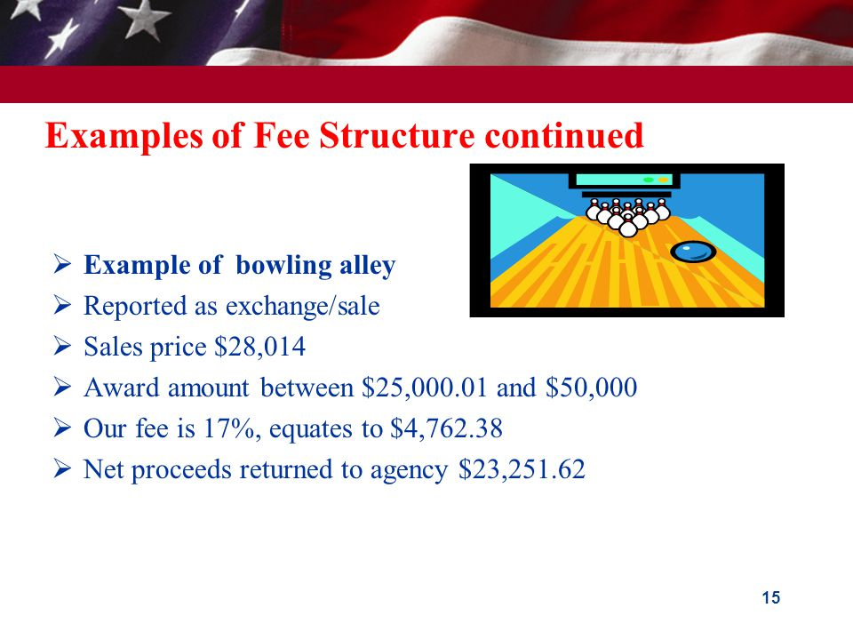 Examples of Fee Structure GSA conducts sales for various Federal agencies with fees taken from sales proceeds.