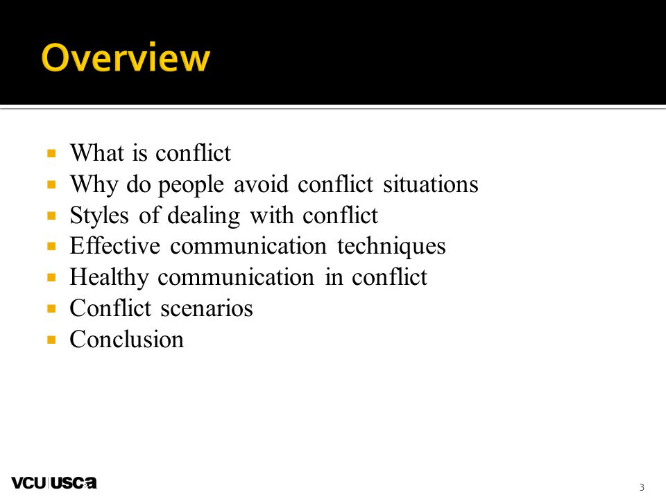 3  What is conflict  Why do people avoid conflict situations  Styles of dealing with conflict  Effective communication techniques  Healthy communication in conflict  Conflict scenarios  Conclusion
