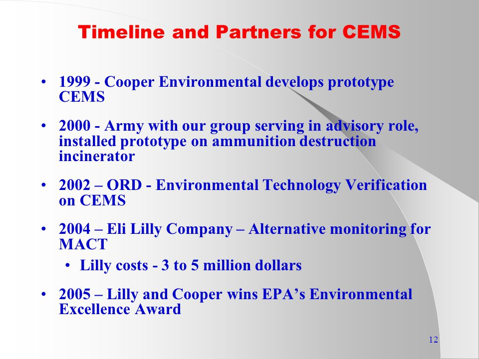 12 Timeline and Partners for CEMS 1999 - Cooper Environmental develops prototype CEMS 2000 - Army with our group serving in advisory role, installed prototype on ammunition destruction incinerator 2002 – ORD - Environmental Technology Verification on CEMS 2004 – Eli Lilly Company – Alternative monitoring for MACT Lilly costs - 3 to 5 million dollars 2005 – Lilly and Cooper wins EPA's Environmental Excellence Award
