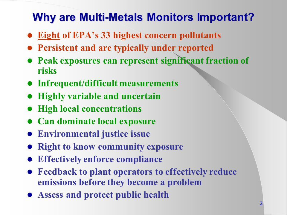 22 Why are Multi-Metals Monitors Important.
