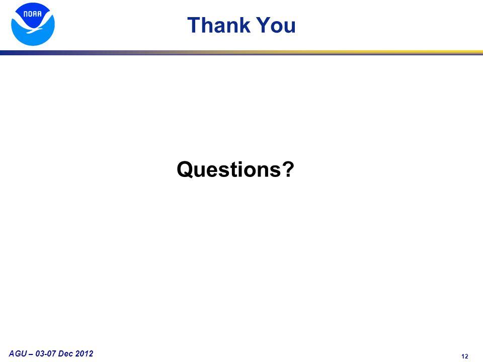 12 AGU – 03-07 Dec 2012 Thank You Questions?