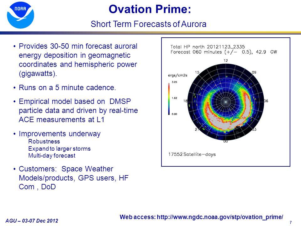 7 AGU – 03-07 Dec 2012 Provides 30-50 min forecast auroral energy deposition in geomagnetic coordinates and hemispheric power (gigawatts).