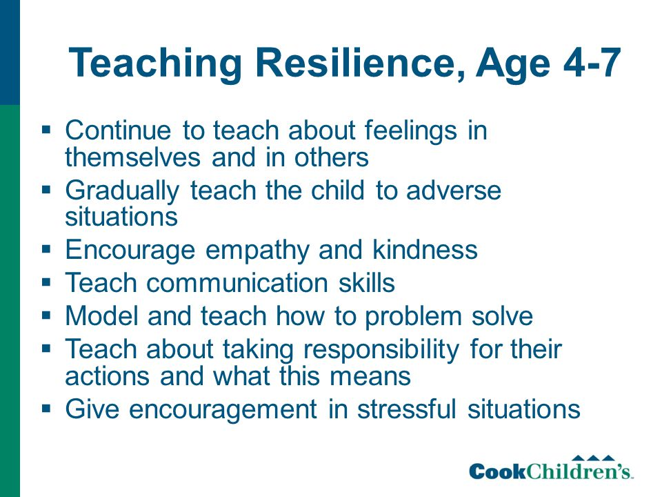 Teaching Resilience, Age 4-7  Continue to teach about feelings in themselves and in others  Gradually teach the child to adverse situations  Encourage empathy and kindness  Teach communication skills  Model and teach how to problem solve  Teach about taking responsibility for their actions and what this means  Give encouragement in stressful situations