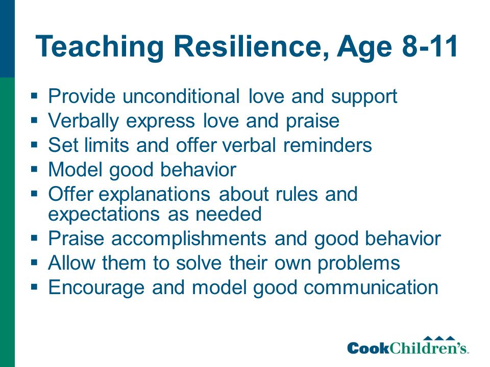 Teaching Resilience, Age 8-11  Provide unconditional love and support  Verbally express love and praise  Set limits and offer verbal reminders  Model good behavior  Offer explanations about rules and expectations as needed  Praise accomplishments and good behavior  Allow them to solve their own problems  Encourage and model good communication