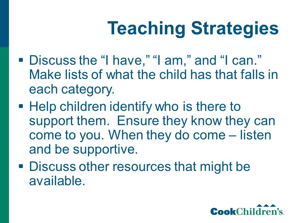 Teaching Strategies  Discuss the I have, I am, and I can. Make lists of what the child has that falls in each category.