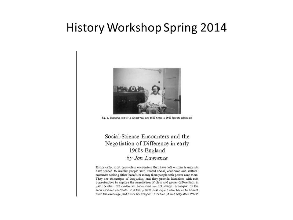 History Workshop Spring 2014