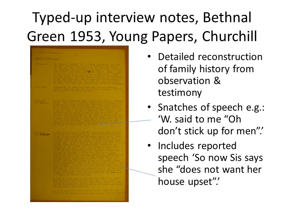 Typed-up interview notes, Bethnal Green 1953, Young Papers, Churchill Detailed reconstruction of family history from observation & testimony Snatches of speech e.g.: 'W.