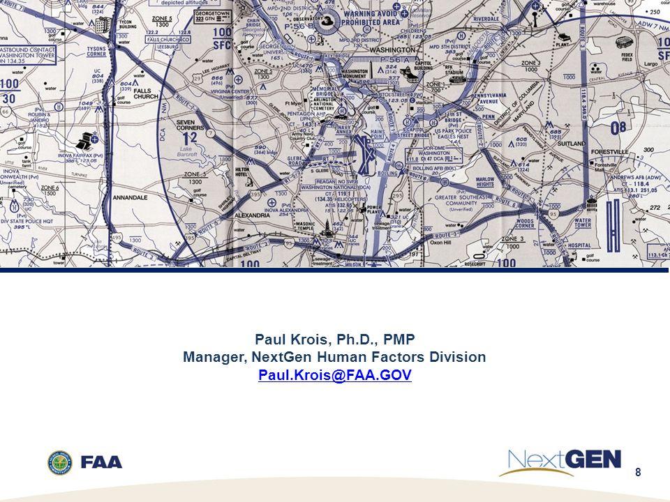 8 Paul Krois, Ph.D., PMP Manager, NextGen Human Factors Division Paul.Krois@FAA.GOV Paul.Krois@FAA.GOV
