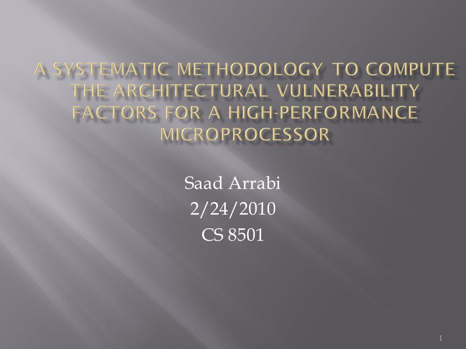 1 Saad Arrabi 2/24/2010 CS 8501