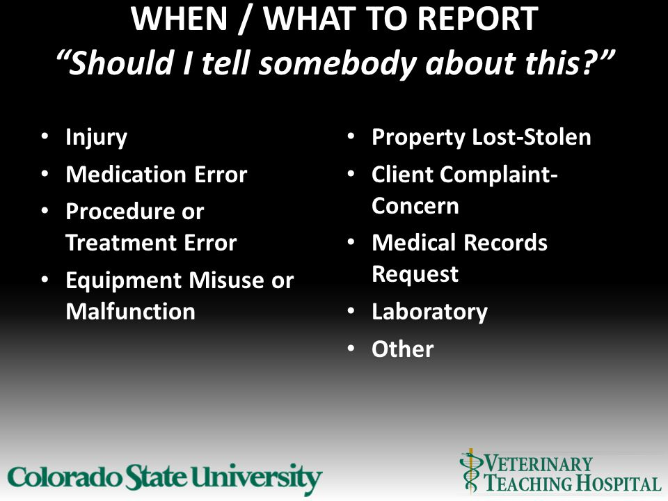 WHEN / WHAT TO REPORT Should I tell somebody about this Injury Medication Error Procedure or Treatment Error Equipment Misuse or Malfunction Property Lost-Stolen Client Complaint- Concern Medical Records Request Laboratory Other