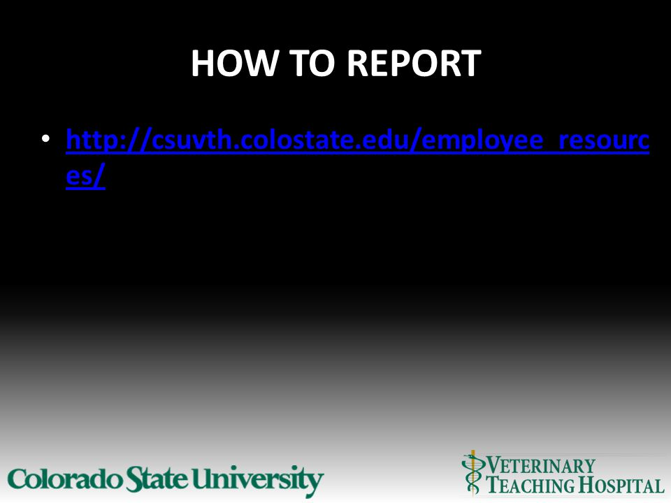 HOW TO REPORT http://csuvth.colostate.edu/employee_resourc es/ http://csuvth.colostate.edu/employee_resourc es/