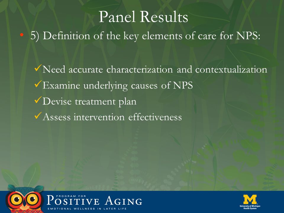 Panel Results 5) Definition of the key elements of care for NPS: Need accurate characterization and contextualization Examine underlying causes of NPS Devise treatment plan Assess intervention effectiveness