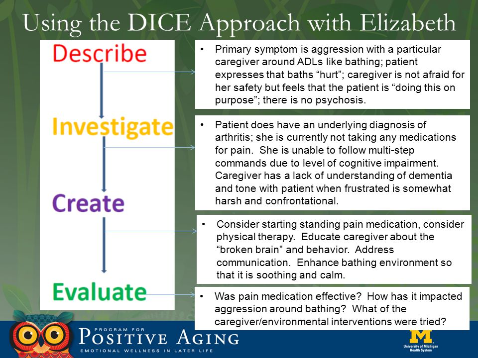 Using the DICE Approach with Elizabeth Primary symptom is aggression with a particular caregiver around ADLs like bathing; patient expresses that bath