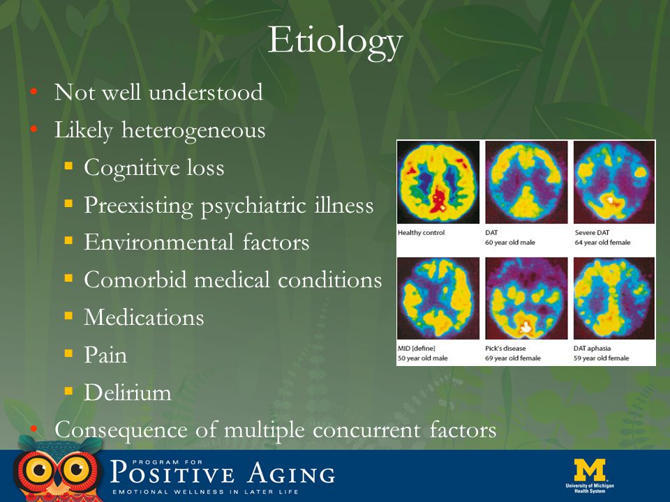 Etiology Not well understood Likely heterogeneous  Cognitive loss  Preexisting psychiatric illness  Environmental factors  Comorbid medical condit