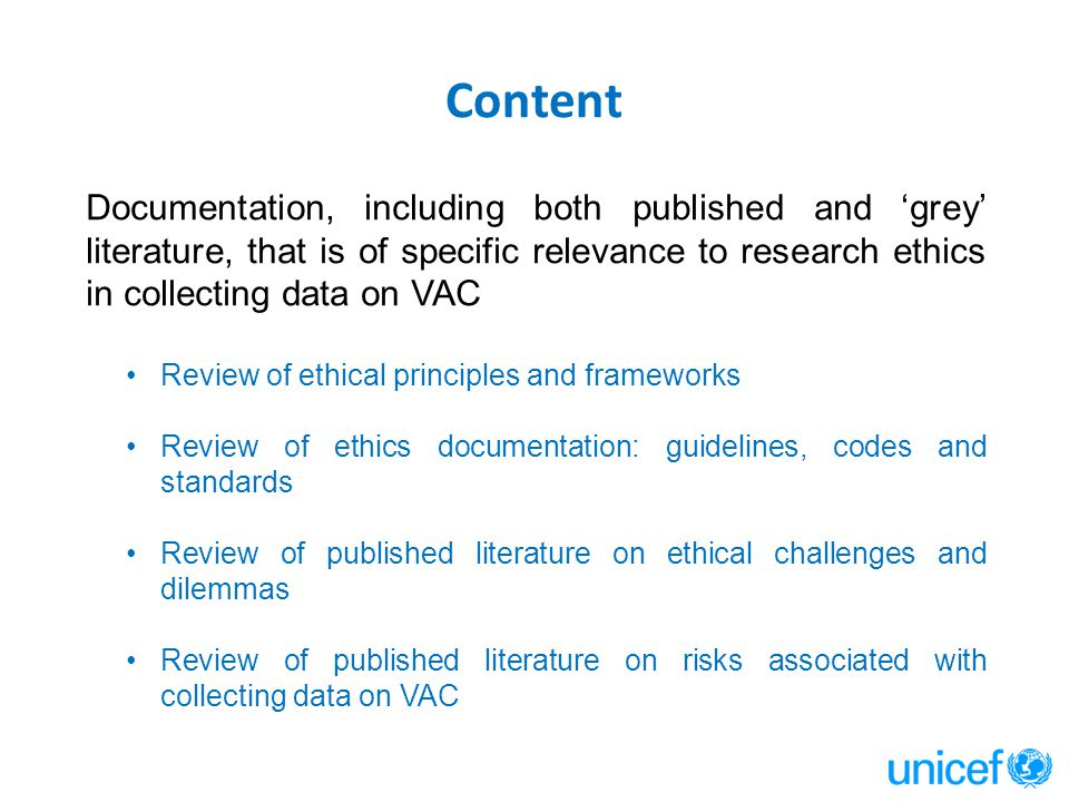 Content Documentation, including both published and 'grey' literature, that is of specific relevance to research ethics in collecting data on VAC Revi