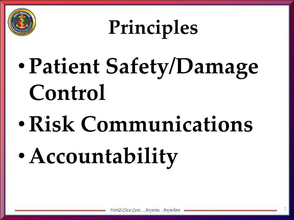 World-Class Care…Anytime, Anywhere Principles Patient Safety/Damage Control Risk Communications Accountability 7