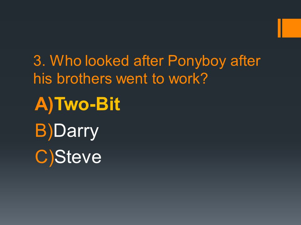 3. Who looked after Ponyboy after his brothers went to work? A)Two-Bit B)Darry C)Steve
