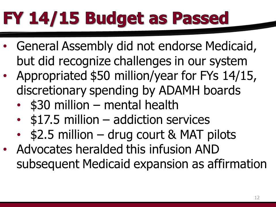 General Assembly did not endorse Medicaid, but did recognize challenges in our system Appropriated $50 million/year for FYs 14/15, discretionary spend
