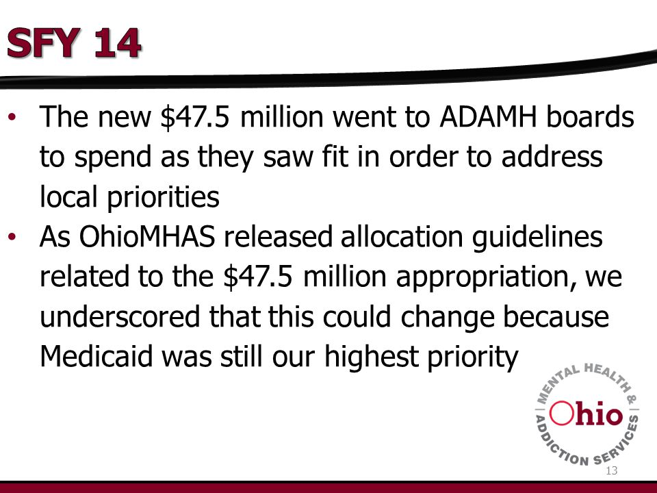 13 The new $47.5 million went to ADAMH boards to spend as they saw fit in order to address local priorities As OhioMHAS released allocation guidelines